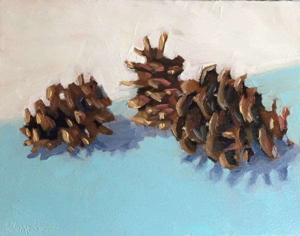 Pinecones on Blue