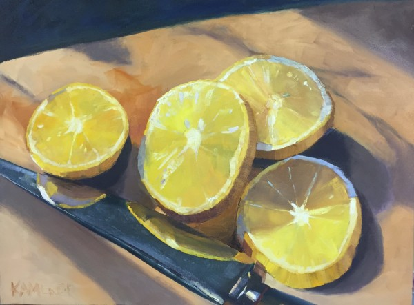 Cutting board with Lemons and Knife