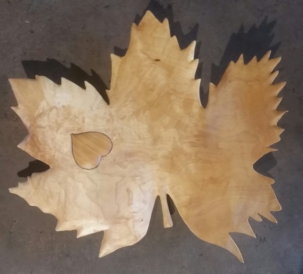 Wooden Leaf with Heart