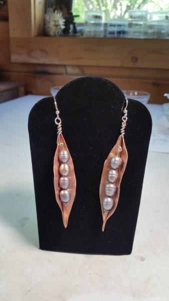 Copper Pea Pod Earrings
