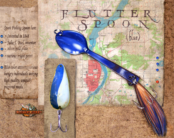 Flutter Spoon (Blue) (Unframed print with real lure)
