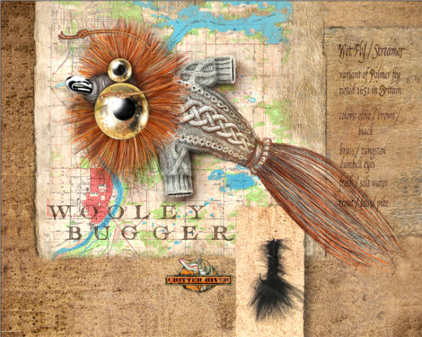 Wooley Bugger (Unframed print with real lure)