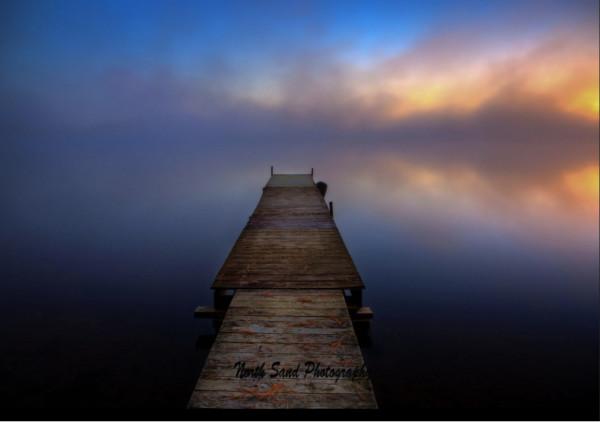 Blue Morning Dock (Framed photo)