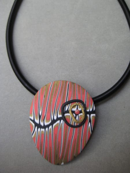 Coral/White Teardrop Necklace