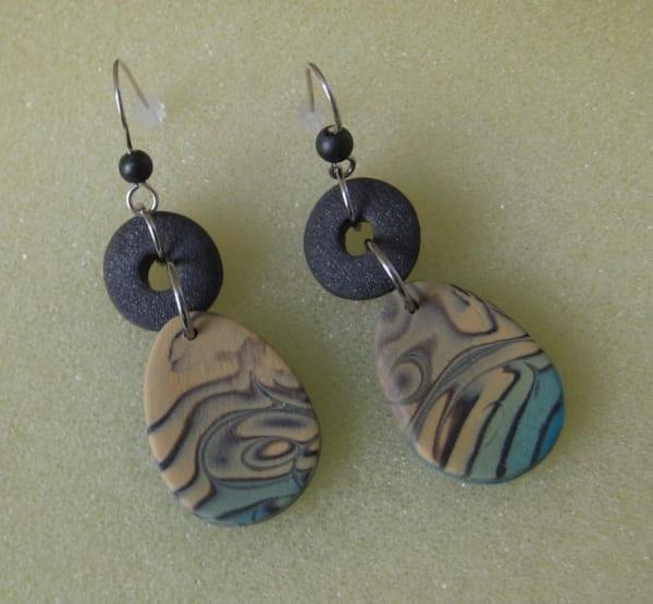 Swirl Blue/Beige Earrings