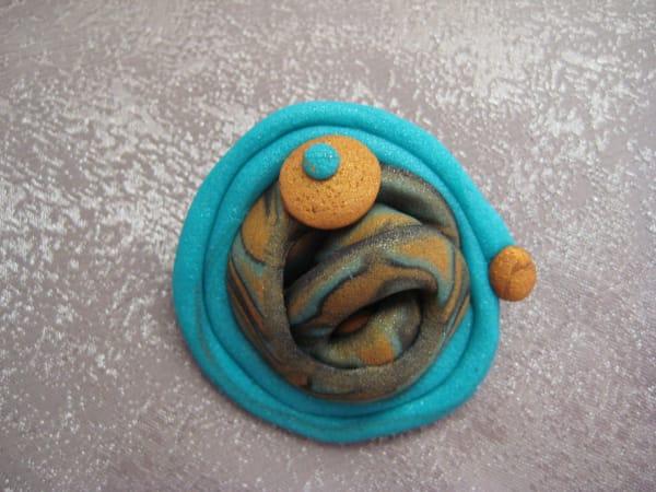 Teal/Gold Swirl Pin