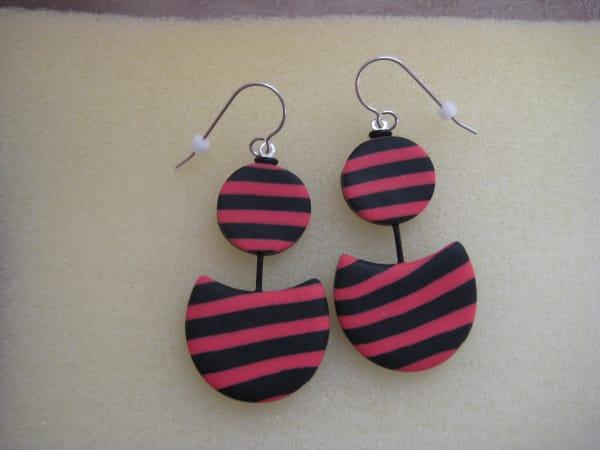 Black/Coral Earrings