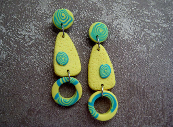Yellow/Aqua Earrings