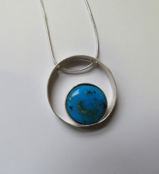 Mexican Blue Opal Necklace (Circle)