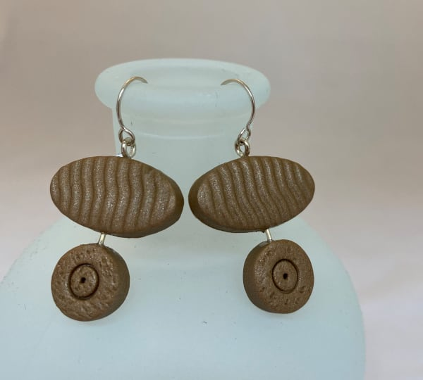 Tan Oval Earrings
