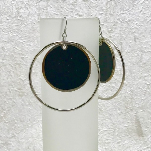 Black and Silver Circle Earrings