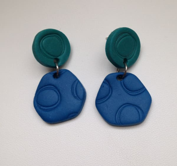 Patterned Post Earrings (Blue/Aqua)