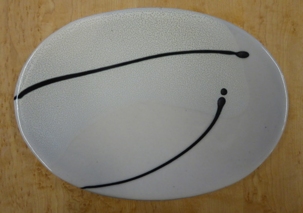 Oval Dish Clear with Black Lines