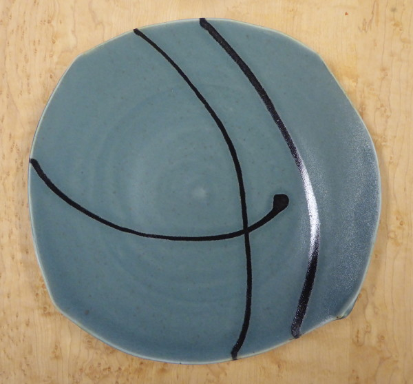 Blue Dancing Plate with Black Lines