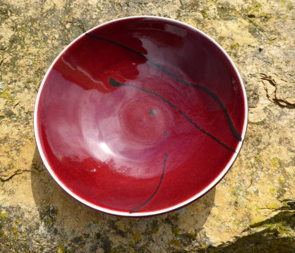 Red Bowl with Black Lines