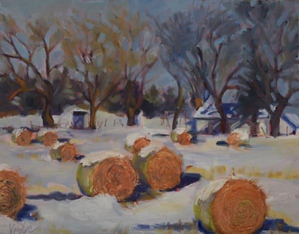 Winter at Halfway Prairie School House (framed original)