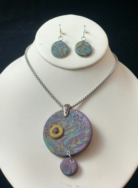 Purple, Turquoise, Antique Gold Set (Pendant Only)