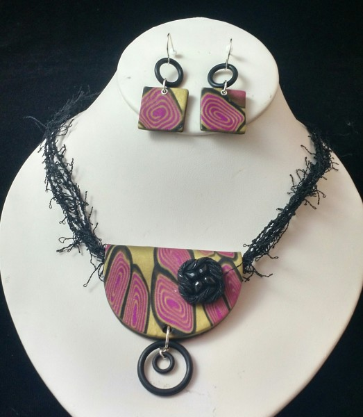 Pink and Black Set (Earrings Only)