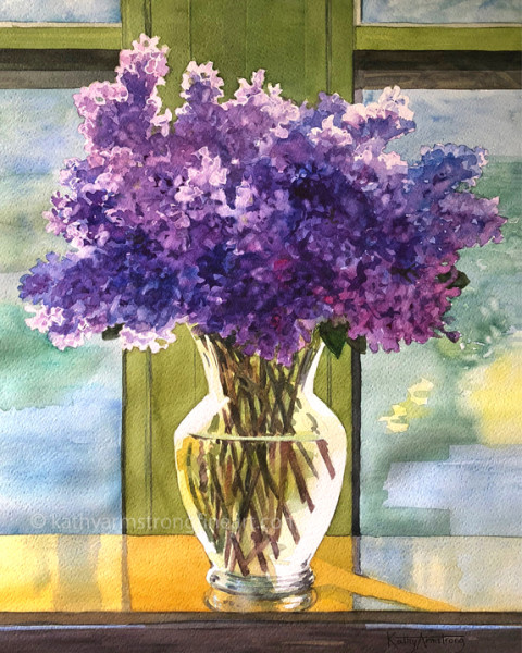 Lilacs in Clear Vase