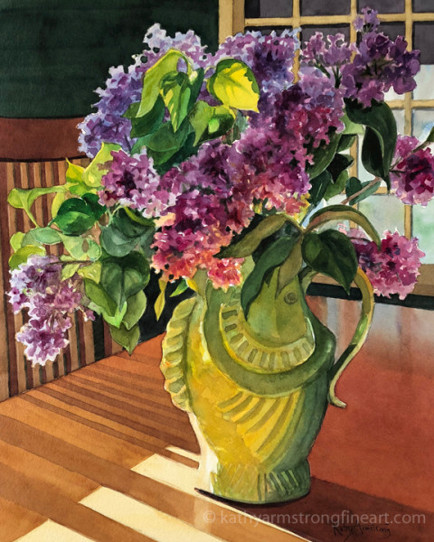 Lilacs in Green Fish Vase