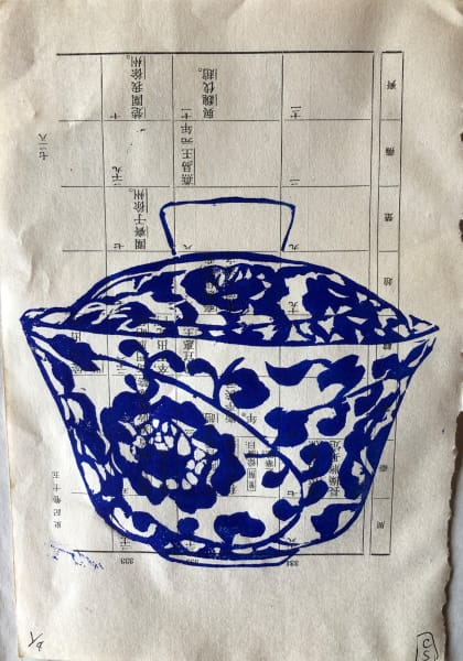 Chinese blue and white tea cup lino print