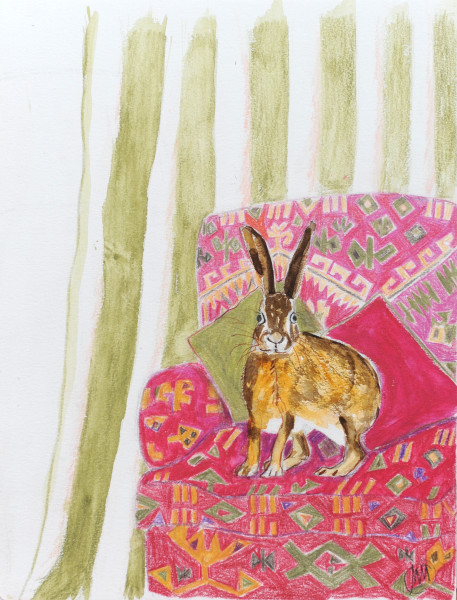 Red sofa with hare 1