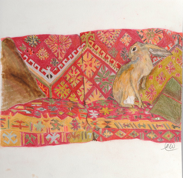 Red sofa with hare 3