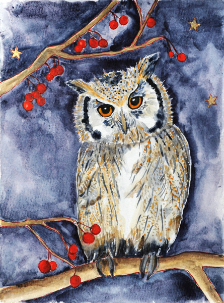 Owl with berries