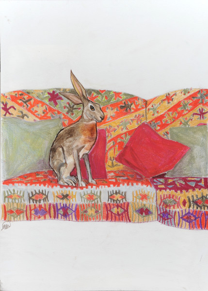 Red Sofa with hare 2