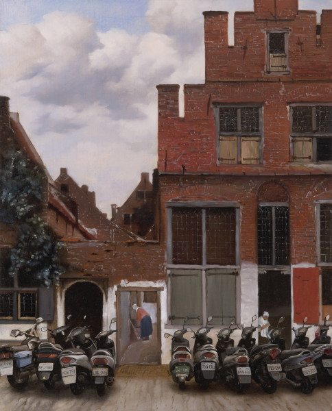 Street in Delft with Parked Scooters 被亂停機車的台夫特街景