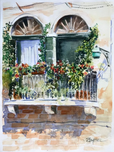 Balcony with Flowers and Street Lamp