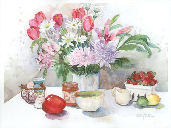 Still Life with Tulips and Strawberries