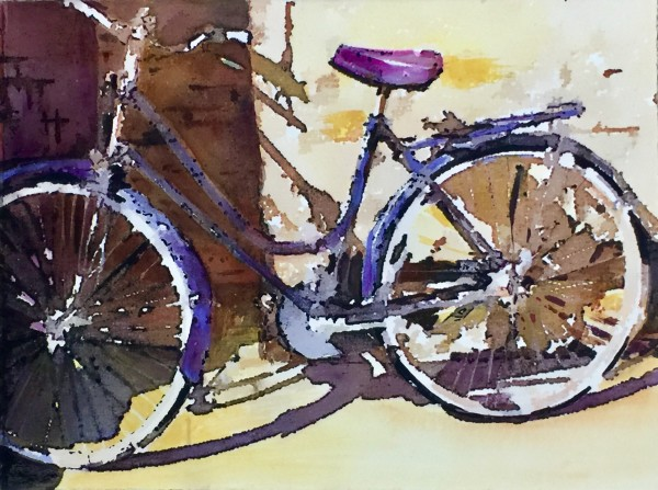 Bicycle with Violet Seat