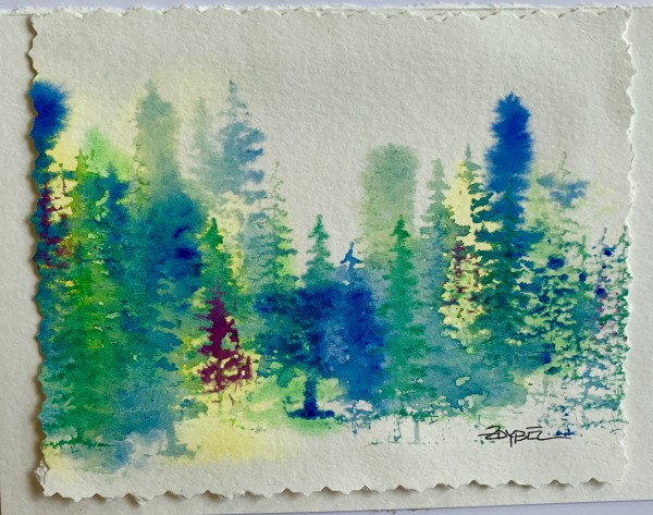Fantasy Firs in Blue, Green, and Magenta