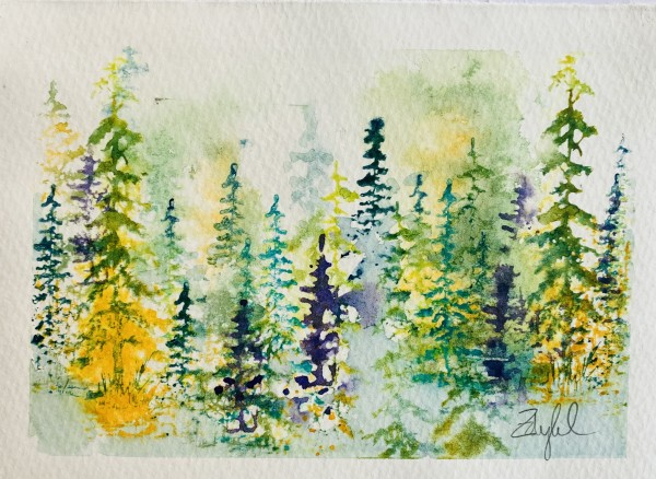 Fantasy Firs in Yellow, Violet and Green