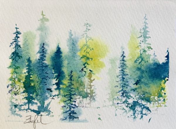 Fantasy Firs in Green, Gold and Purple