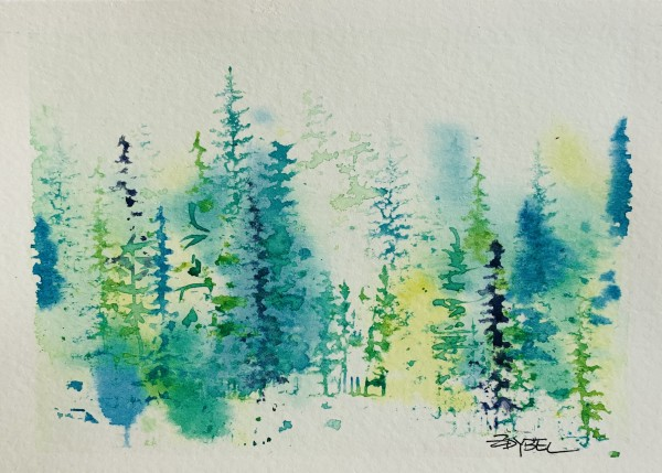 Fantasy Firs in Teal, Yellow, and Purple