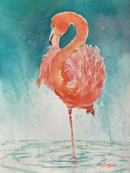 Flamingo in Orange and Aqua