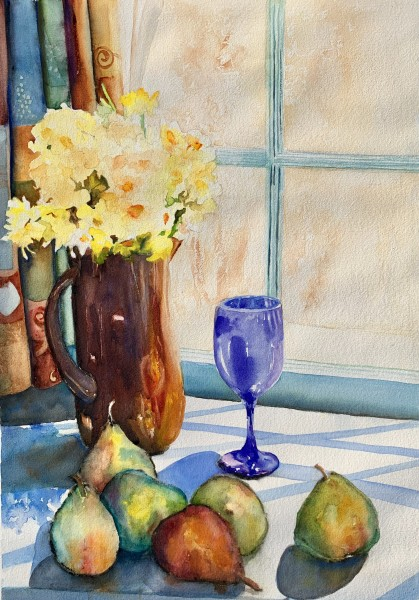 Still Life with Daffodils, Pears, and Blue Goblet