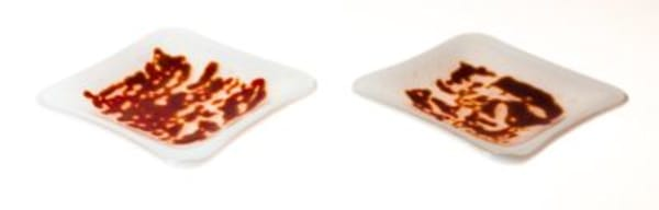 Red Rocks on white small dishes