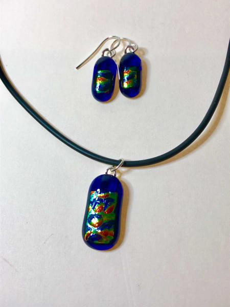 Blue Dichroic pendant & earrings
