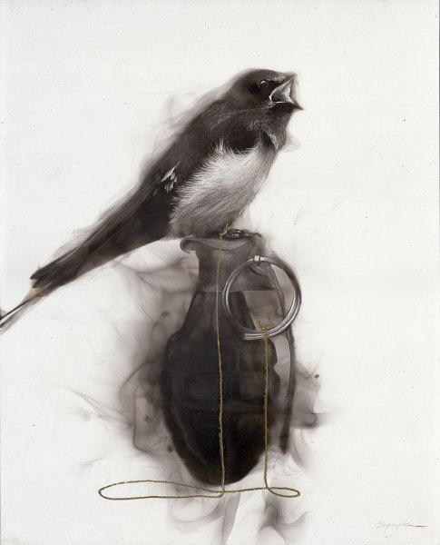 Bird on Grenade (5 mad Swallow attached to pin)