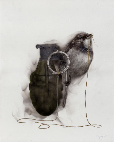 Bird on Grenade (Small bird holding lever and string in beek)