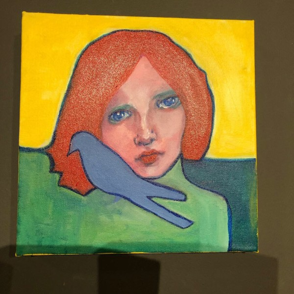 Woman with Red Hair and Blue Bird