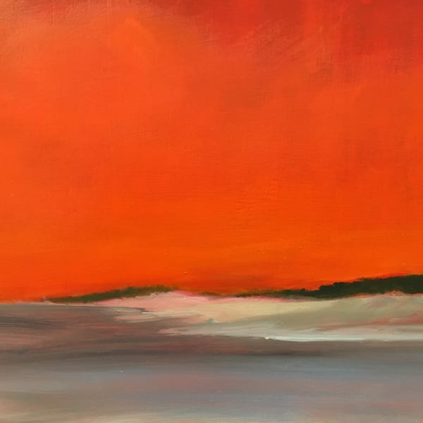 Beach with Red Sky