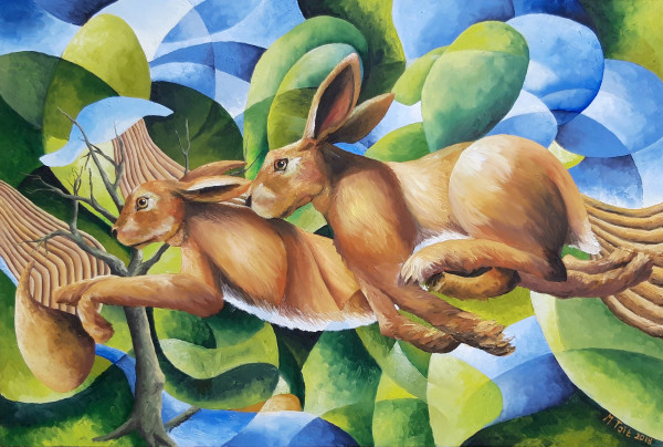 Two Hares in a Landscape with a Dead Tree.