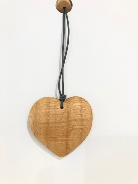 Artist made wooden heart necklace