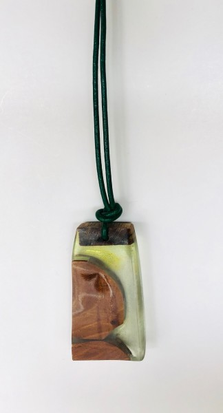 Artist made  necklace resin and wood
