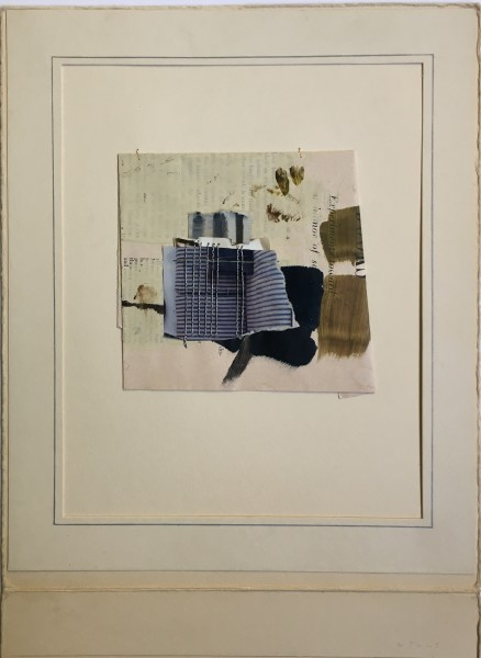 Small collage/ assemblage with vertical stitching
