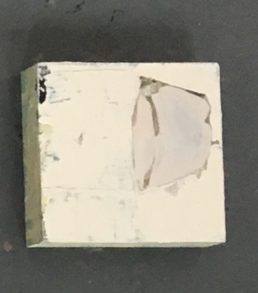 Small square painting with heavy paint